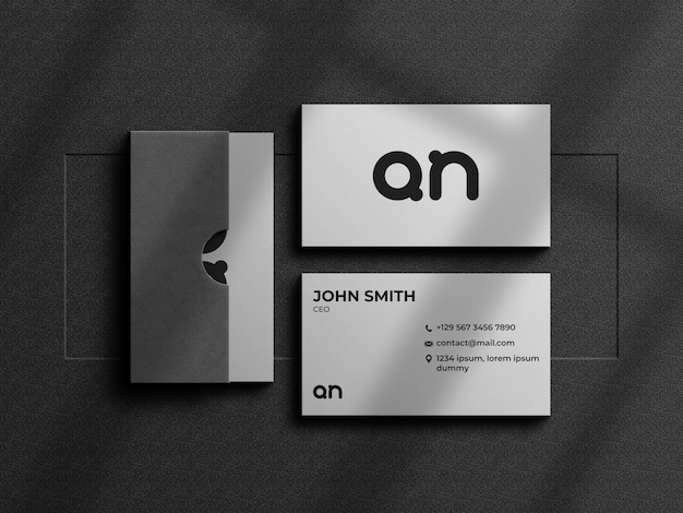 Maquette de carte de visite minimaliste avec boîte à cartes
