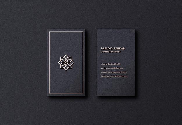 Maquette de carte de visite noire propre psd premium