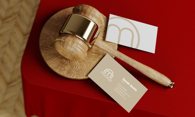 Maquette de carte de visite en or juge avocat marteau