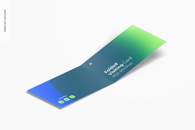 Maquette de carte de visite pliée, vue isométrique