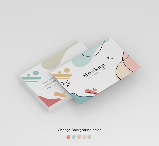 Maquette de carte de visite professionnelle minimale isométrique en liasse et isolée.