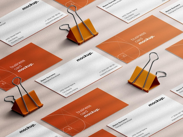 Maquette de carte de visite professionnelle de papeterie avec oeillères en papier vue isométrique isolée