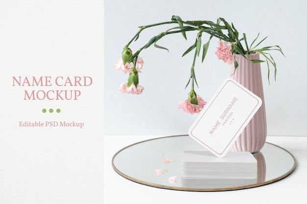 Maquette de carte de visite psd, rose pastel
