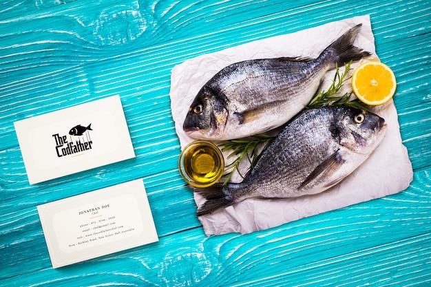 Maquette de carte de visite de restaurant de fruits de mer