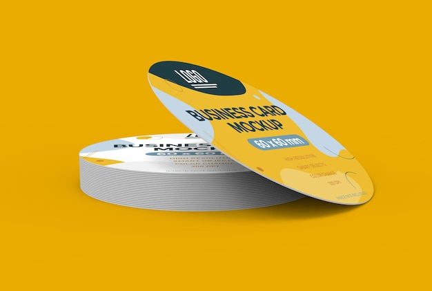 Maquette de carte de visite ronde en rendu 3d