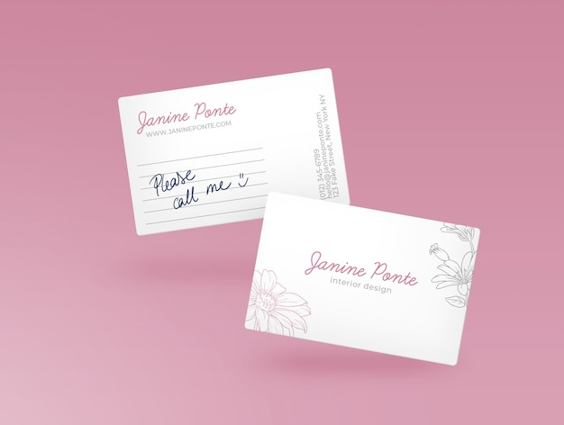 Maquette de carte de visite rose