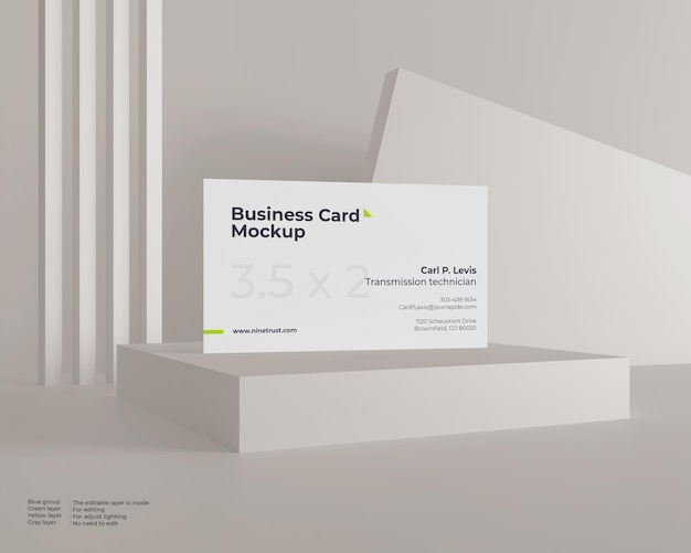 Maquette de carte de visite simple sur le podium