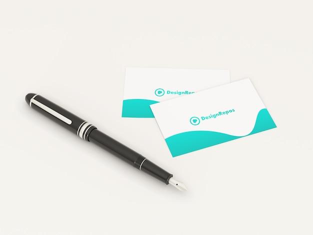 Maquette de carte de visite avec stylo