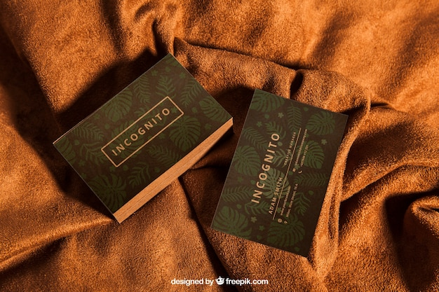 Maquette de carte de visite sur textile
