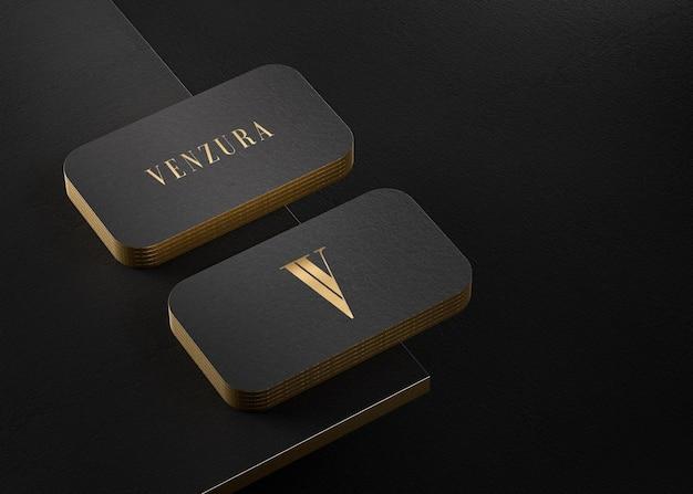 Maquette de carte de visite typographique de luxe en or noir pour le rendu 3d de la marque