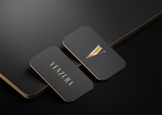Maquette de carte de visite typographique moderne en or noir de luxe pour le rendu 3d de la marque