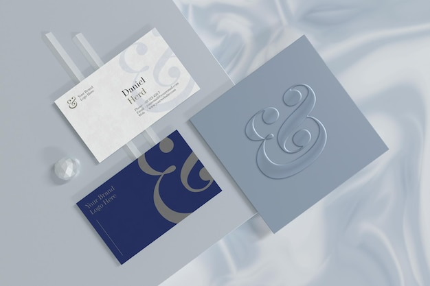 Maquette de carte de visite avec vitrine de marque de logo en rendu 3d
