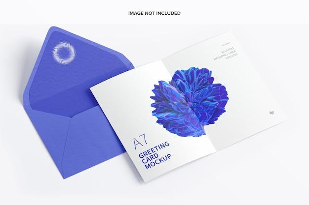 Maquette de carte de vœux a7 avec pages de propagation d'enveloppe