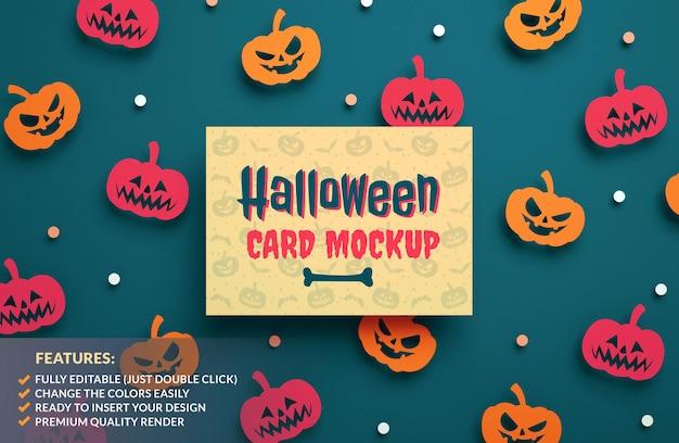 Maquette de carte de voeux happy halloween sur fond de citrouilles en papier en rendu 3d