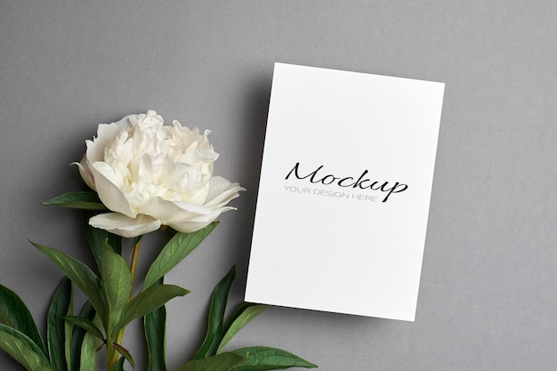 Maquette de carte de voeux ou d'invitation avec des fleurs de pivoine blanche sur fond gris