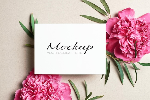 Maquette de carte de voeux ou d'invitation avec des fleurs de pivoine rose et des brindilles d'eucalyptus