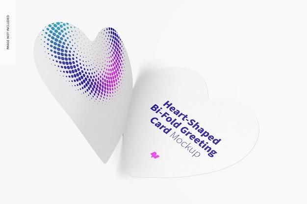 Maquette de carte de voeux pliée en forme de coeur, ouverte