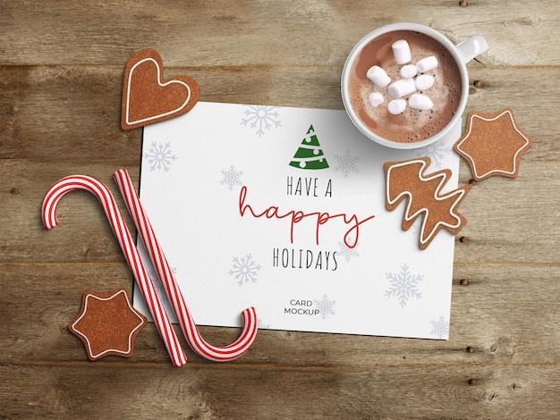 Maquette de carte de voeux de vacances avec décoration de noël