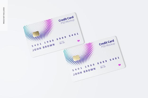 Maquette de cartes de crédit, vue de dessus
