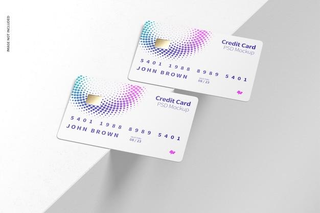 Maquette de cartes de crédit, vue en perspective