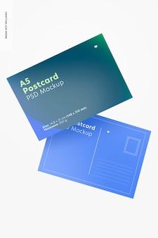 Maquette de cartes postales a5, flottant