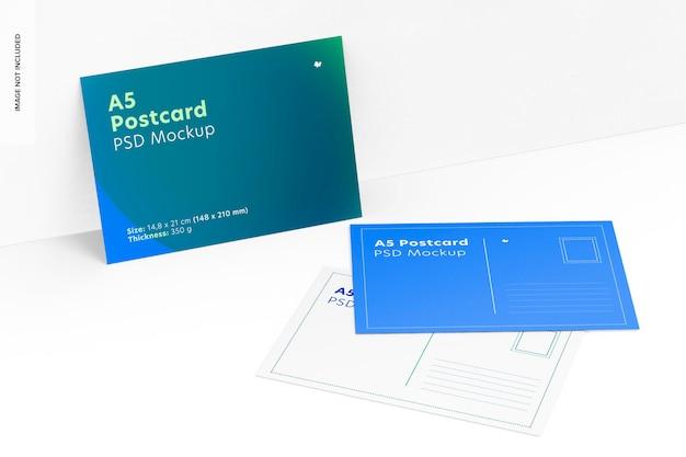 Maquette de cartes postales a5, penchée