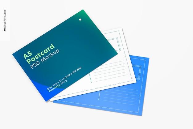 Maquette de cartes postales a5, vue de dessus