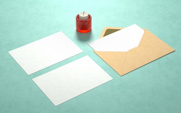 Maquette de cartes postales élégante avec bougie