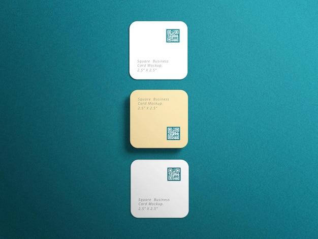 Maquette de cartes de visite carrées aux coins arrondis avec fond bleu
