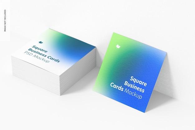 Maquette de cartes de visite carrées, ensemble empilé