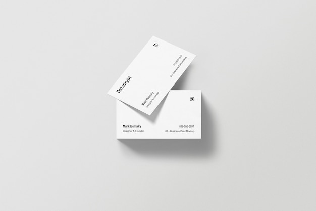 Maquette de cartes de visite empilées