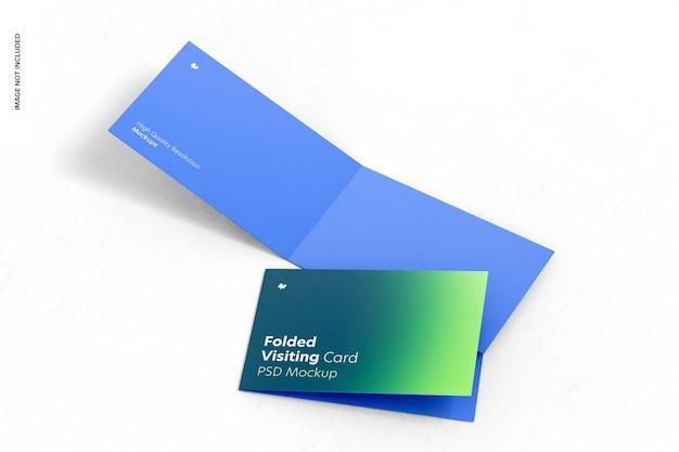 Maquette de cartes de visite pliées, ouvertes et fermées