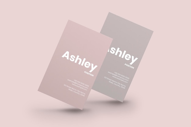 Maquette de cartes de visite en ton rose avec vue avant et arrière