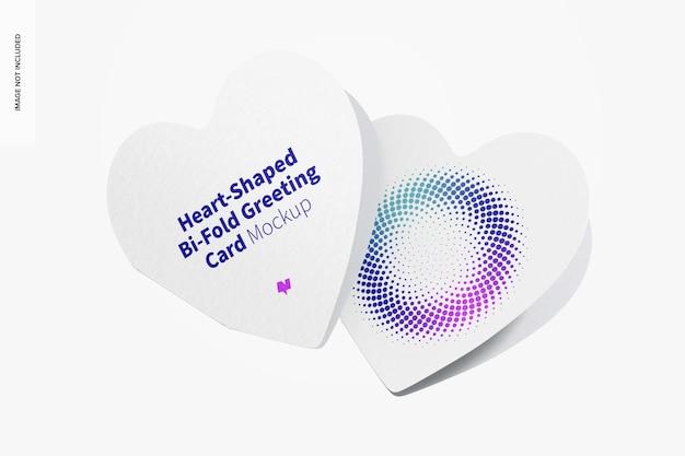 Maquette de cartes de vœux pliées en forme de cœur, fermée