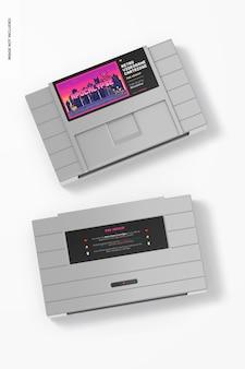 Maquette de cartouches de jeux vidéo rétro, vue de dessus