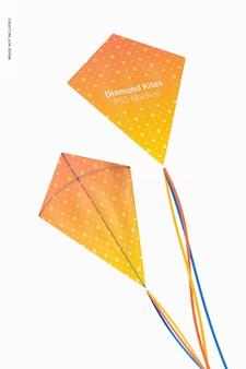 Maquette de cerfs-volants volants en diamant, vue arrière et avant