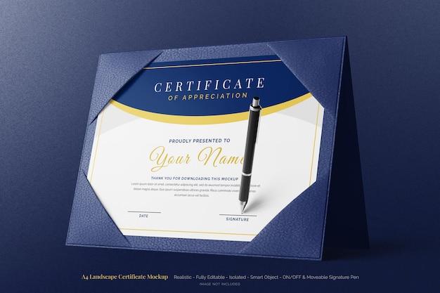 Maquette de certificat moderne de paysage a4 élégante avec étui rigide en cuir à deux volets debout
