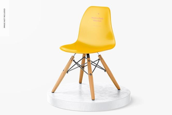 Maquette de chaise pour enfants en plastique moderne, vue de gauche