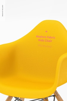 Maquette de chaise pour enfants en tissu moderne, gros plan