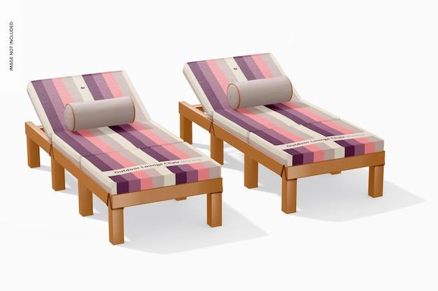 Maquette de chaises longues d'extérieur