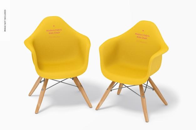 Maquette de chaises pour enfants en tissu moderne, vue de dessus