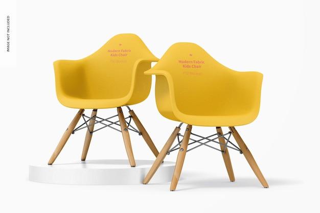 Maquette de chaises pour enfants en tissu moderne