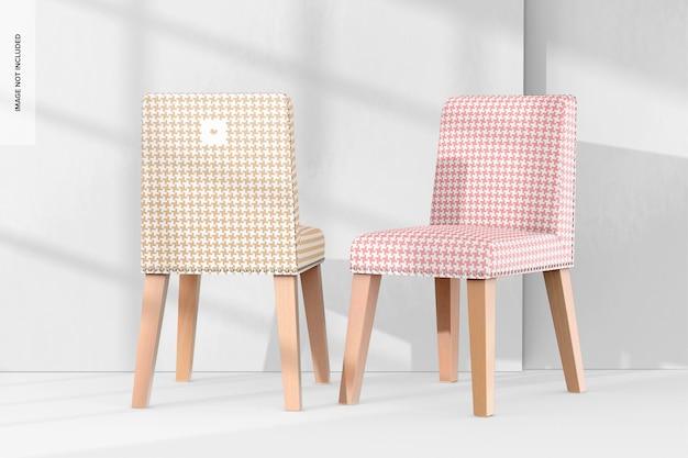 Maquette de chaises de salle à manger en cuir 02