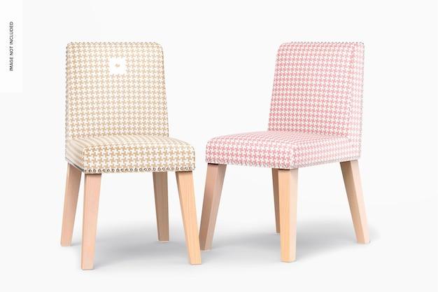 Maquette de chaises de salle à manger en cuir