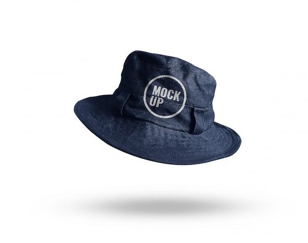 Maquette de chapeau de seau bleu jean réaliste
