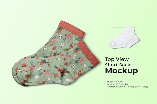 Maquette de chaussettes courtes vue de dessus