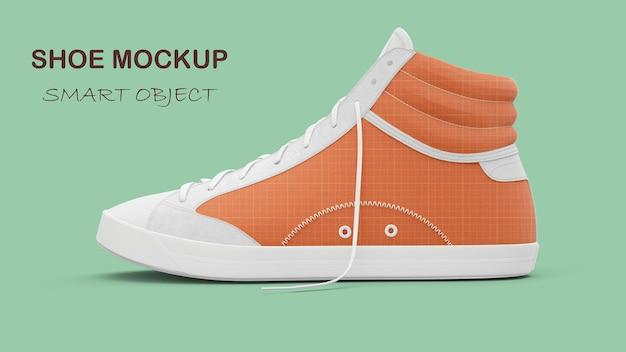Maquette de chaussure en tissu de loisirs orange isolée