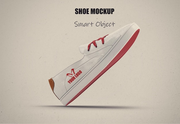 Maquette de chaussure en toile blanche isolée