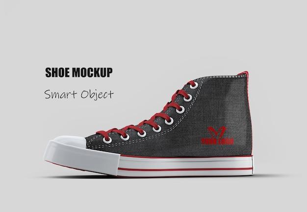 Maquette de chaussure en toile haute noire isolée