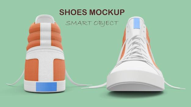 Maquette de chaussures en tissu de loisirs orange isolé